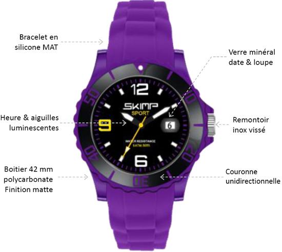 detail de la montre skimp en 42mm
